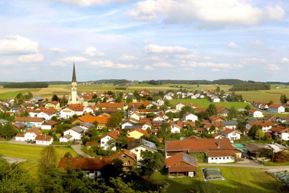 Vue aérienne sur un village